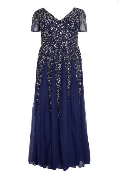 Curve Navy Sequin Embellished Maxi Dress